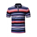 Men's Trendy Colorful Striped Print Short Sleeve Regular-Fit Casual Polo Shirt