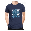 Creative Letter KNOW JESUS KNOW PEACE Print Round Neck Short Sleeve Summer Cotton Tee