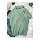 Retro Heart Embroidery Short Sleeve Women Men Loose Casual Polo Shirt