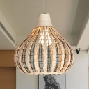 Modernism Gourd Shape Pendant Lighting Weave Single Light Decorative Hanging Lamp in Beige