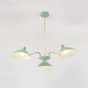 Triple Light Armed Suspension Light Nordic Style Metallic Hanging Ceiling Lamp in Light Green