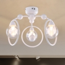 Nordic Style Circle Ring Semi Flushmount with Globe Glass Shade 3 Heads Lighting Fixture in White
