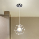 Globe Suspended Light with Geometric Metal Frame Modern Chic 1 Head Hanging Lamp in White