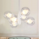 6 Lights Modo Suspension Nordic Style Clear Glass Shade Decorative Hanging Lamp in White
