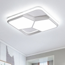 White Pentagon Flushmount with Square Frame Nordic Style Acrylic Shade LED Ceiling Fixture