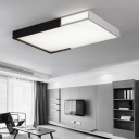 Metallic Rectangular LED Flush Mount Contemporary Minimalist Eye Protection Flush Light in Black and White