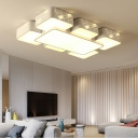 Squared Surface Mount LED Light with Crystal Decoration Contemporary Metal Lighting Fixture in White