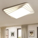 Multi-Layer LED Flush Light with Geometric Pattern Minimalist Acrylic Surface Mount Ceiling Light in White