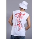 Street Style Cool Letter Graffiti Printed Crewneck Sport Casual Tank Top