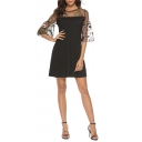Chic Floral Embroidery Mesh Panelled Flare Sleeve Black Mini A-Line Dress