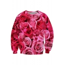 3D Chic Rose Floral Printed Round Neck Long Sleeve Red Sweatshirt
