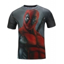 3D Print Street Style Summer Cool Short Sleeve Black T-Shirt for Guys