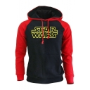 Star Wars Fashion Colorblock Raglan Sleeve Sport Casual Pullover Drawstring Hoodie
