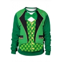 Saint Patrick's Day Fashion 3D Blazer Printed Round Neck Long Sleeve Green Sweatshirt