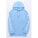 Cool Unique Letter Star Pattern Long Sleeve Oversized Longline Blue Drawstring Hoodie