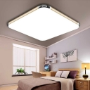 Minimalist Square LED Flushmount with Gold Frame Metal Ceiling Fixture for Coffee Shop
