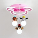 Jungle Animal 3 Hanging Lamp Children Bedroom Plastic Pendant Lamp with Cute Mouse Frame