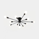 Metallic Branching Ceiling Light Contemporary Multi Light Semi Flush Light Fixture in Black for Sitting Room