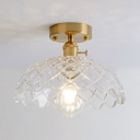 Lattice Glass Dome Semi Flush Mount Modern Fashion Single Head Semi Flush Light Fixture in Natural Brass