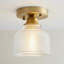 1 Bulb Bowl Semi Flush Mount Light Industrial Retro Style Textured Glass Mini Indoor Lighting Fixture in Brass