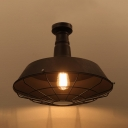 Vintage Retro Barn Ceiling Light Metallic Single Light Semi Flush Mount Light in Centennial Rust