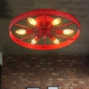 Blue/Green/Red Wheel Ceiling Flush Mount Lodge Style Metallic 6 Lights Flush Mount for Exhibition Hall