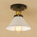 Tapered Mini Semi Flush Mount Retro Style Metal Single Light Surface Mount Ceiling Light in Brushed Brass