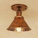 Centennial Rust Tapered Surface Mount Light Retro Style Metal Single Head Mini Ceiling Lamp for Foyer Porch