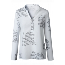 Summer Fashion Letter Pattern V-Neck Long Sleeve Casual Loose Blouse