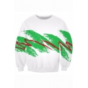 New Trendy Line Graffiti Printed Basic Round Neck Long Sleeve White Casual Sweatshirt