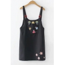 Cute Cartoon Patched Girls Black Mini Shift Overall Dress