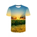 Fancy 3D Sunrise Sunflower Printed Blue Short Sleeve Loose Casual T-Shirt