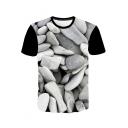 Basic Round Neck Short Sleeve 3D Stone Pattern Grey T-Shirt