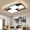 Rectangle Frame LED Flush Mount with 3 Square Acrylic Shade Modern Design Ceiling Fixture in Black