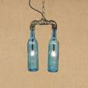2 Bulbs Bottle Suspension Light with Amber/Blue/Clear/Smoke Glass Shade Loft Style Chandelier