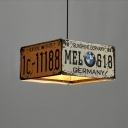 3 Lights Rectangle Chandelier Light Retro Industrial Style Wrought Iron Suspension Light in Black