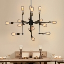 Bare Bulb Chandelier Ceiling Light Retro Style Iron Multi Light Suspension Light in Aged Brass