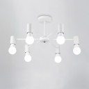 White Branch Chandelier Lighting Modern Fashion Metallic 6 Heads Suspended Light