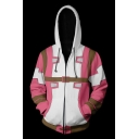 Trendy 3D Colorblocked Cosplay Costume Long Sleeve Zip Up Pink Hoodie with Pocket
