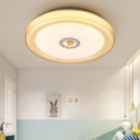Acrylic Round Ceiling Lamp Modernism LED Flush Light Fixture in Blue/Brown/White for Hallway