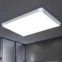 Silver Ultra Thin Flushmount with Rectangle Shape Minimalist Modern Acrylic LED Ceiling Lamp