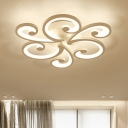 2/3/4 Lights Swirl Ceiling Light with Acrylic Shade Modern Fashion LED Semi Flush Mount in Matte White