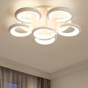 White C Shape Lighting Fixture Modern Design Acrylic 3/6 Heads LED Ceiling Lamp for Dining Room