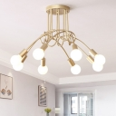 Post Modern Bare Bulb Indoor Lighting Wrought Iron 8 Heads Semi Flush Light with Twisted Arm