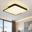 Nordic Style Geometric Square Flushmount Decorative LED Lighting Fixture with Acrylic Lampshade