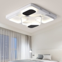 Stylish Square Canopy Flush Lighting Metallic Energy Efficient Surface Mount LED Light for Bedroom