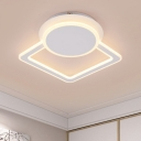 Acrylic Shade LED Ceiling Flush with Round and Square Concise Surface Mount Ceiling Light in White