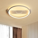 Ring LED Flush Lighting with Linear Canopy Concise Modern Silicon Gel Ceiling Light in White