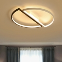 Minimalist Super-thin Flush Light Acrylic LED Ceiling Lamp in Black and White for Dining Room