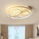 Multi Ring LED Semi Flush Light Simplicity Silicon Gel Decorative Ceiling Light in Warm/White